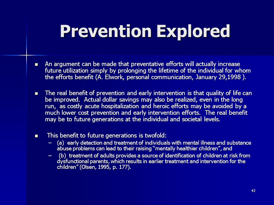 Prevention Explored