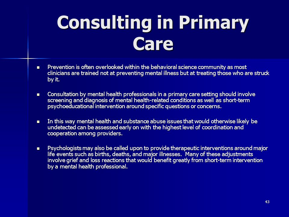 Consulting in Primary Care