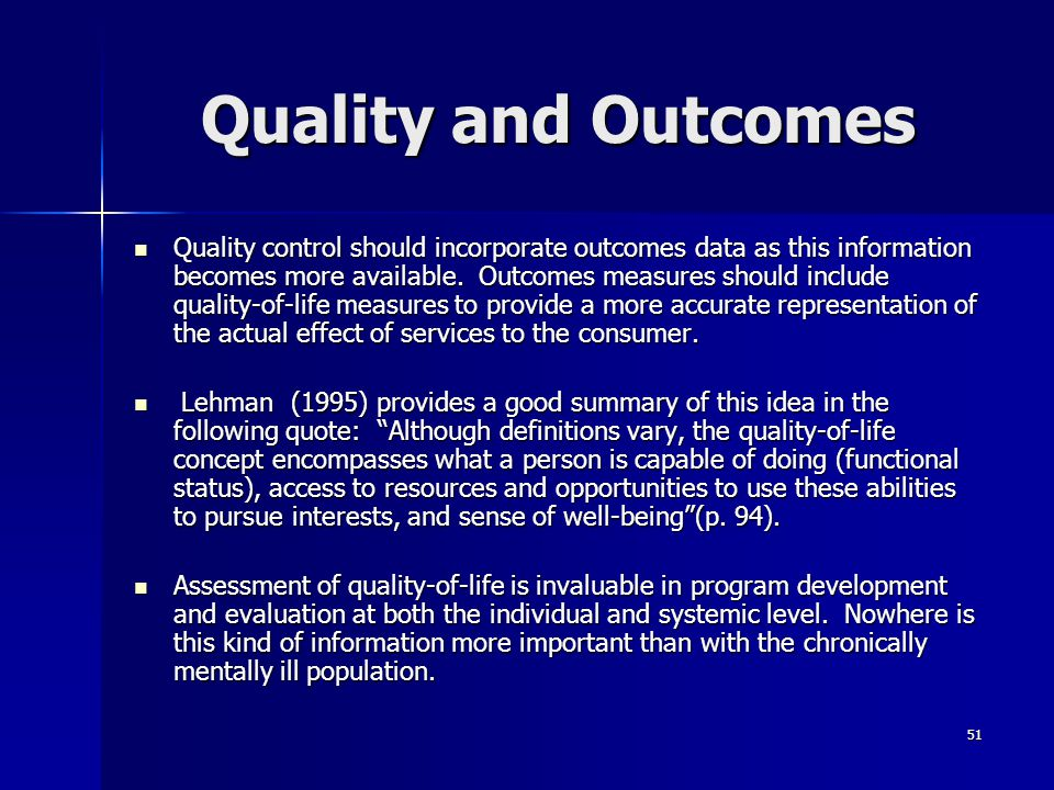 Quality and Outcomes