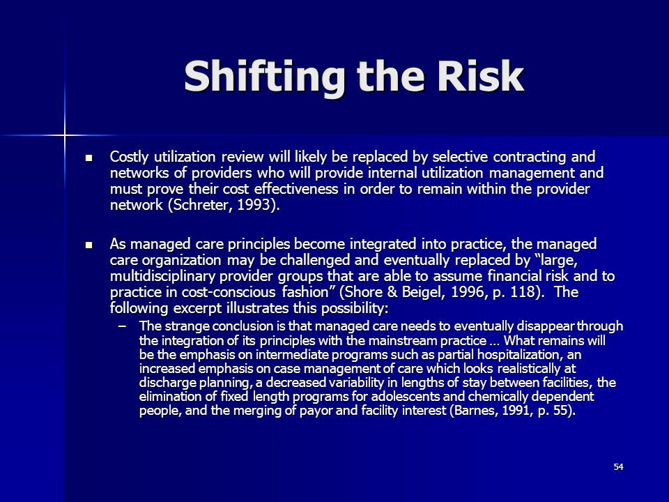 Shifting the Risk