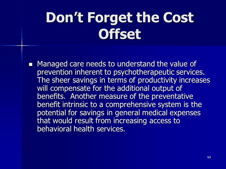 Don't Forget the Cost Offset