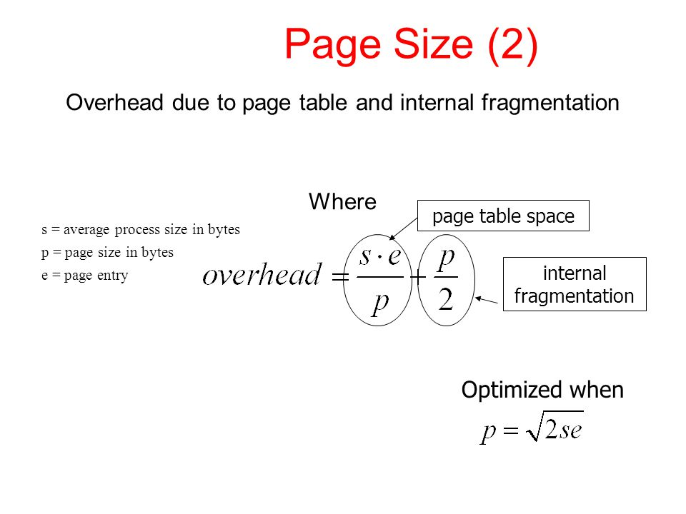 Page Size (2) Overhead due to page table and internal fragmentation