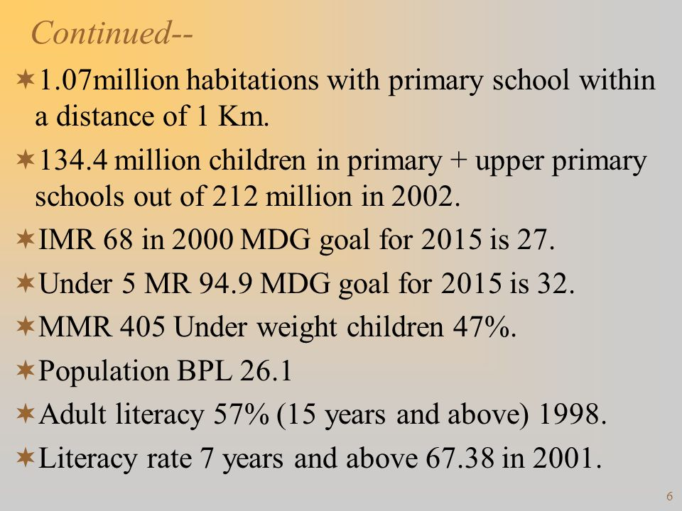 Continued-- 1.07million habitations with primary school within a distance of 1 Km.