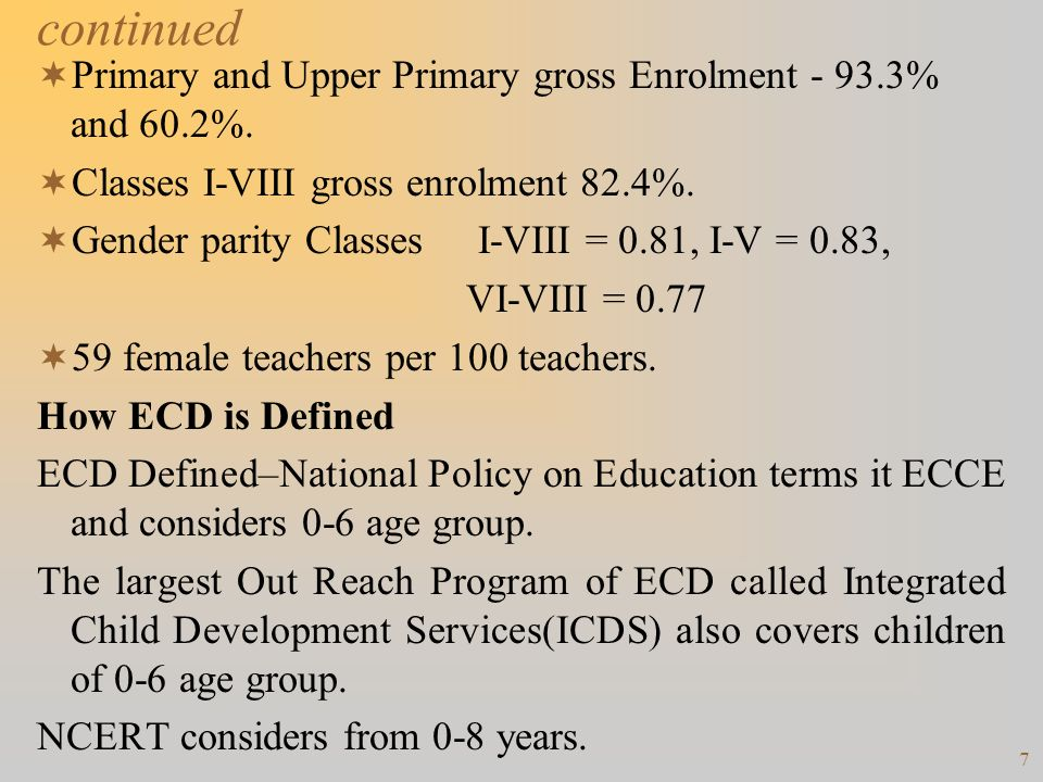 continued Primary and Upper Primary gross Enrolment - 93.3% and 60.2%.