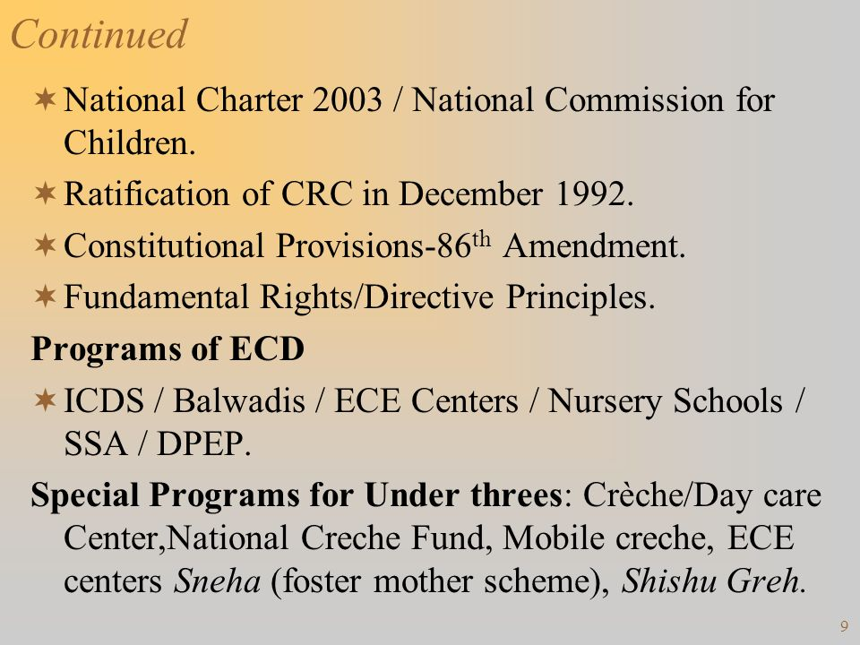 Continued National Charter 2003 / National Commission for Children.