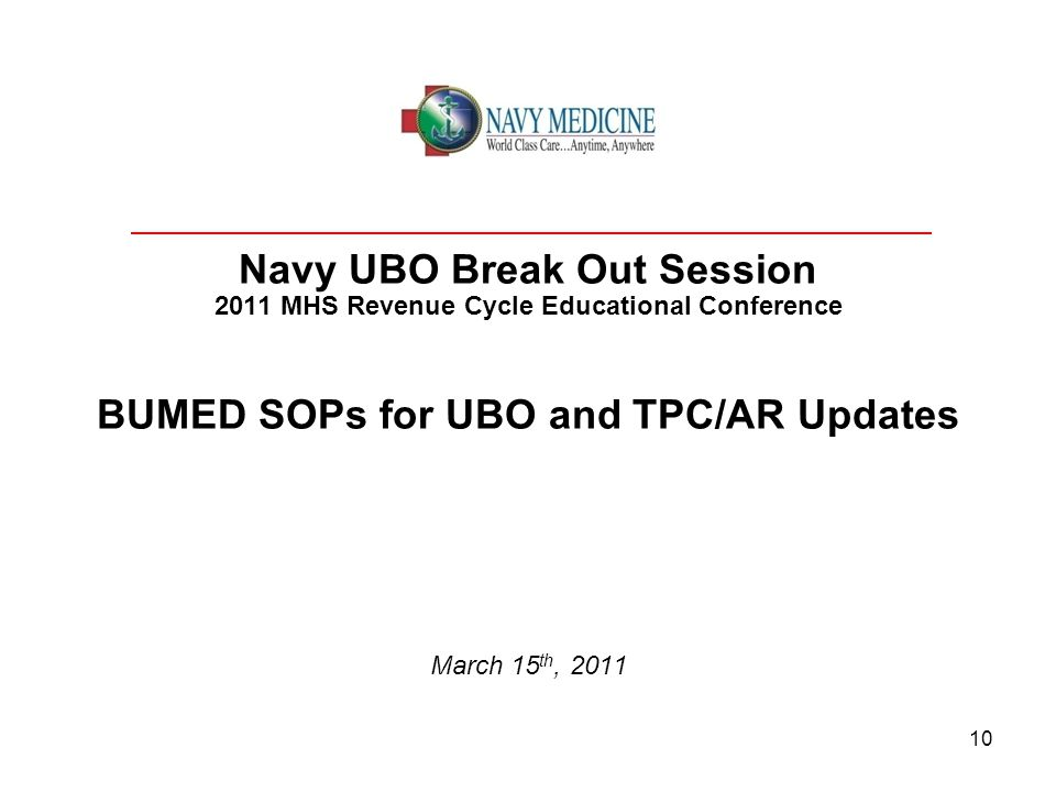 Navy UBO Break Out Session 2011 MHS Revenue Cycle Educational Conference BUMED SOPs for UBO and TPC/AR Updates