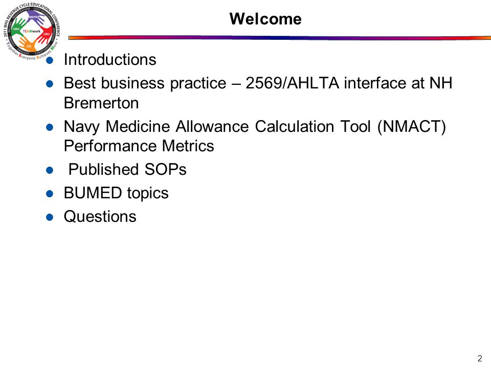 Welcome Introductions. Best business practice – 2569/AHLTA interface at NH Bremerton.