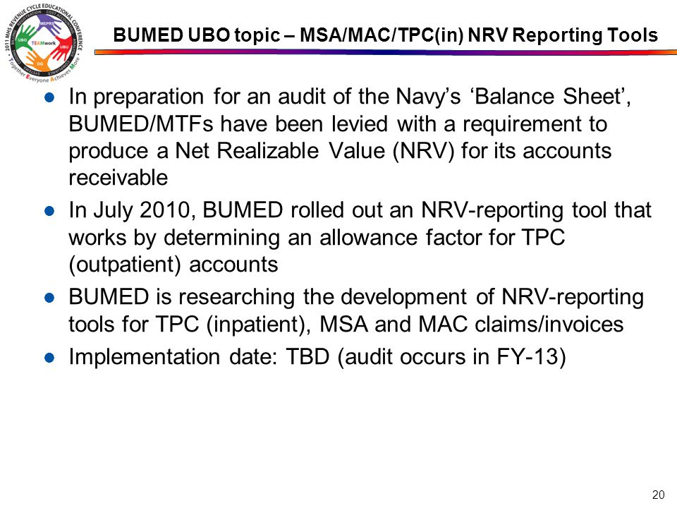 BUMED UBO topic – MSA/MAC/TPC(in) NRV Reporting Tools