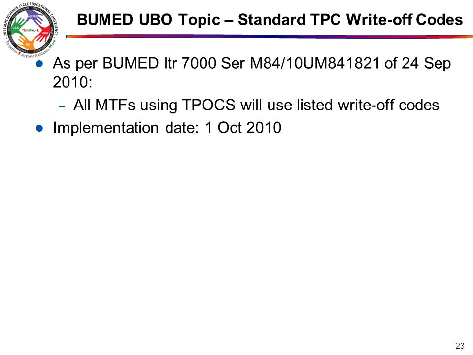 BUMED UBO Topic – Standard TPC Write-off Codes