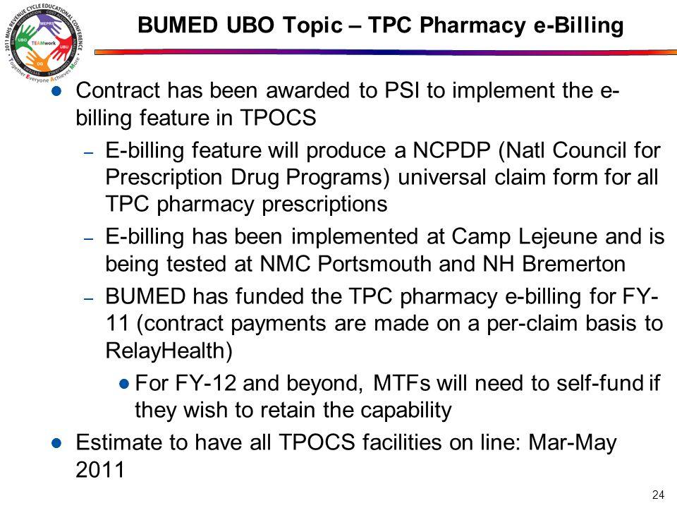 BUMED UBO Topic – TPC Pharmacy e-Billing