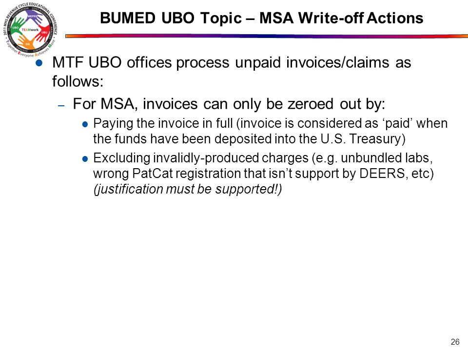 BUMED UBO Topic – MSA Write-off Actions
