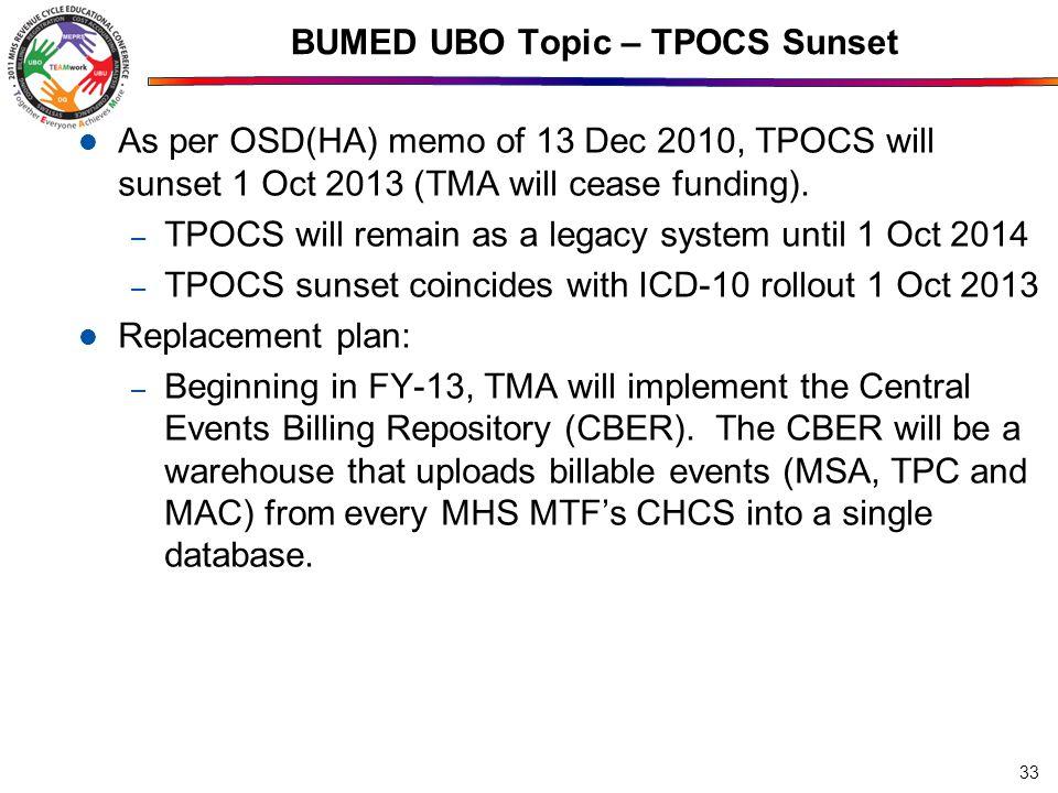 BUMED UBO Topic – TPOCS Sunset