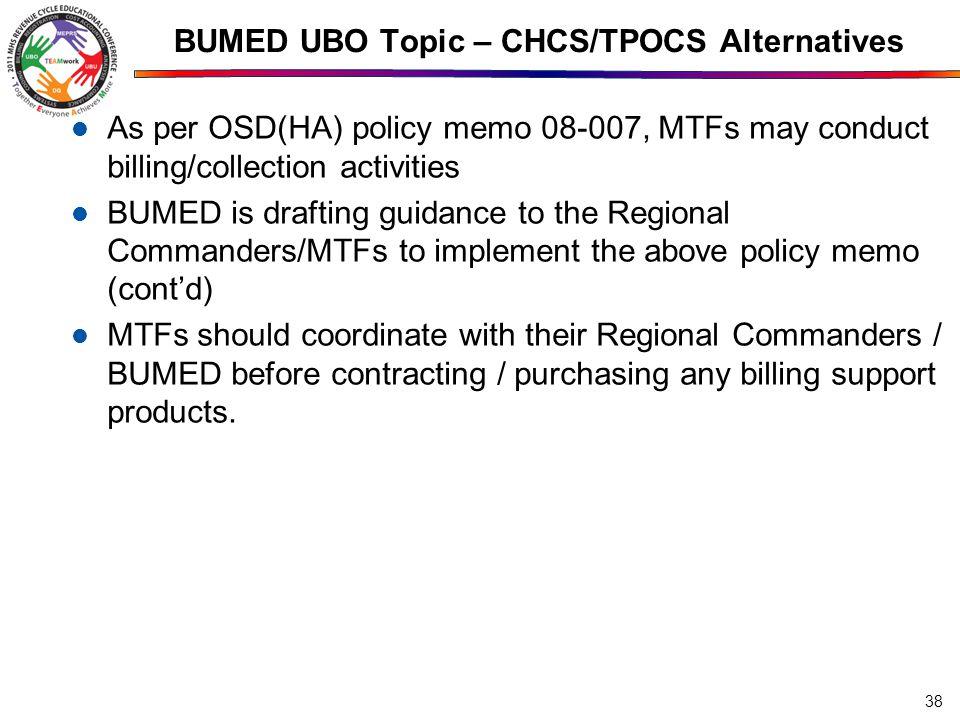 BUMED UBO Topic – CHCS/TPOCS Alternatives
