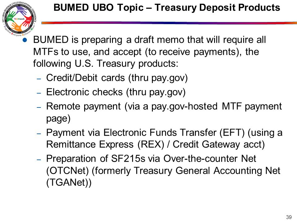 BUMED UBO Topic – Treasury Deposit Products
