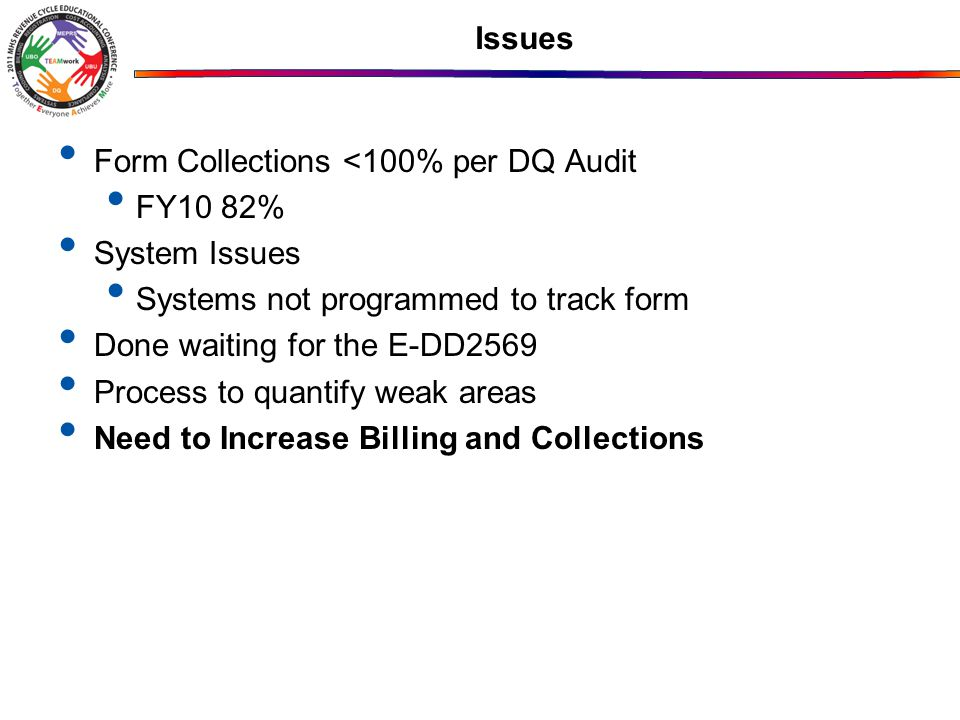 Issues Form Collections <100% per DQ Audit. FY10 82% System Issues. Systems not programmed to track form.