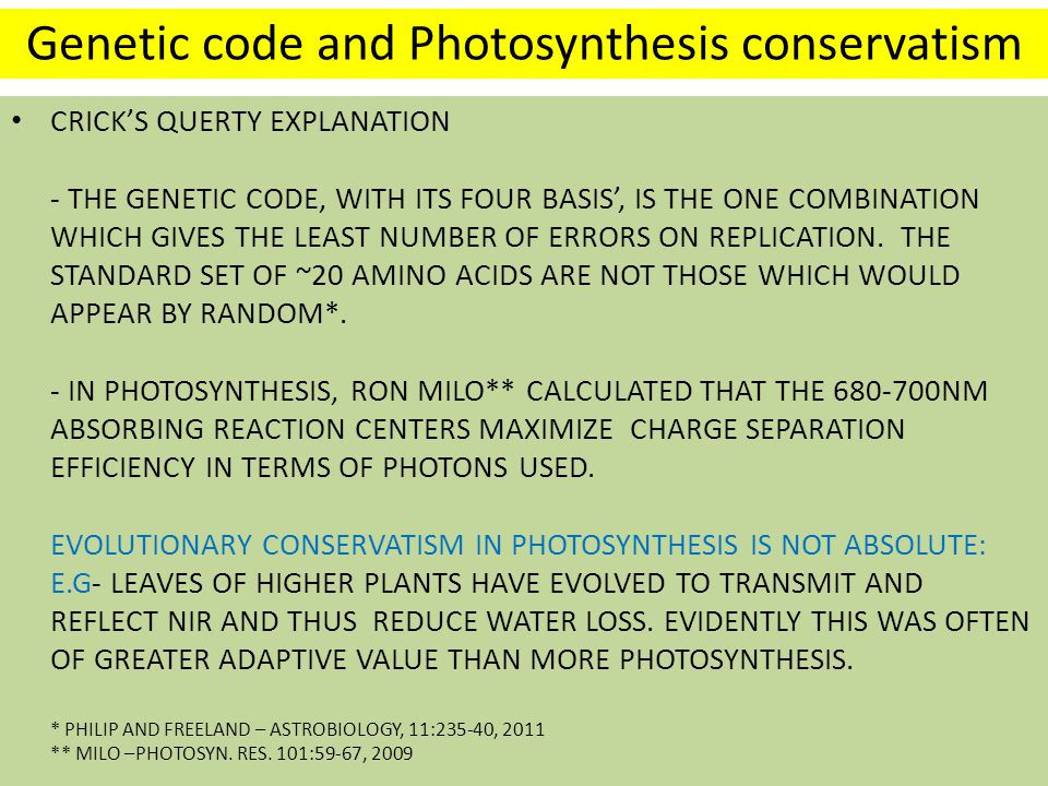 Genetic code and Photosynthesis conservatism