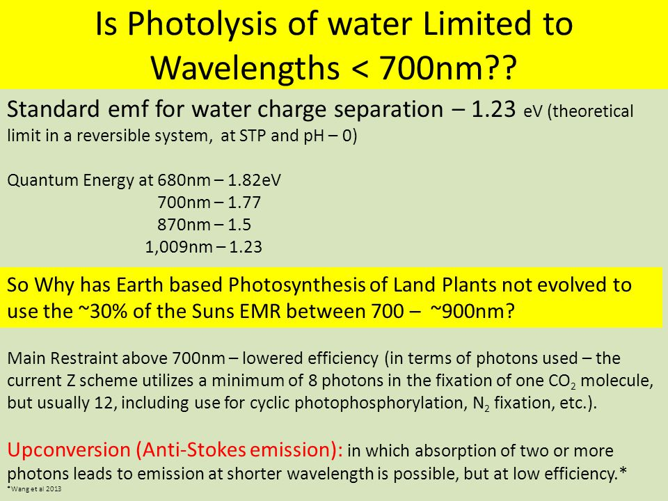 Is Photolysis of water Limited to Wavelengths < 700nm