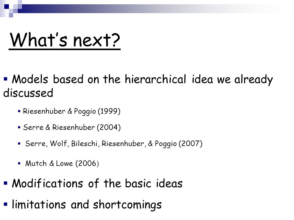 What's next Models based on the hierarchical idea we already discussed. Riesenhuber & Poggio (1999)