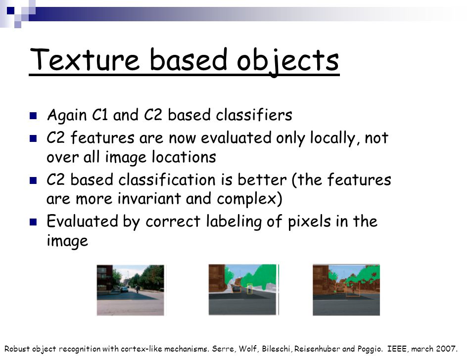 Texture based objects Again C1 and C2 based classifiers