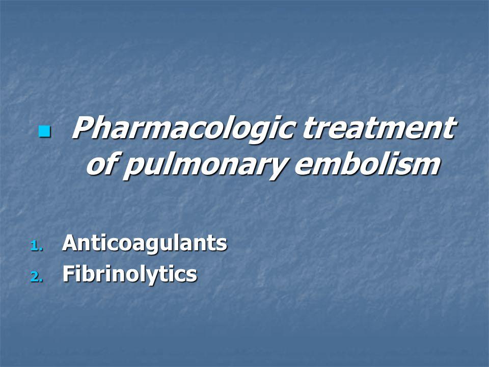 Pharmacologic treatment of pulmonary embolism