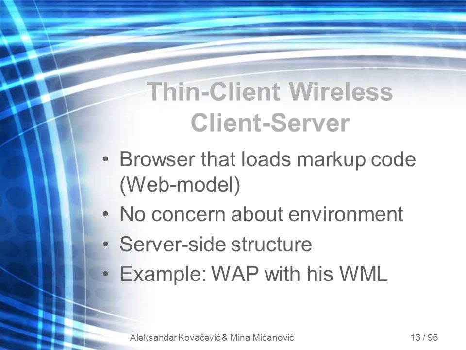 Thin-Client Wireless Client-Server