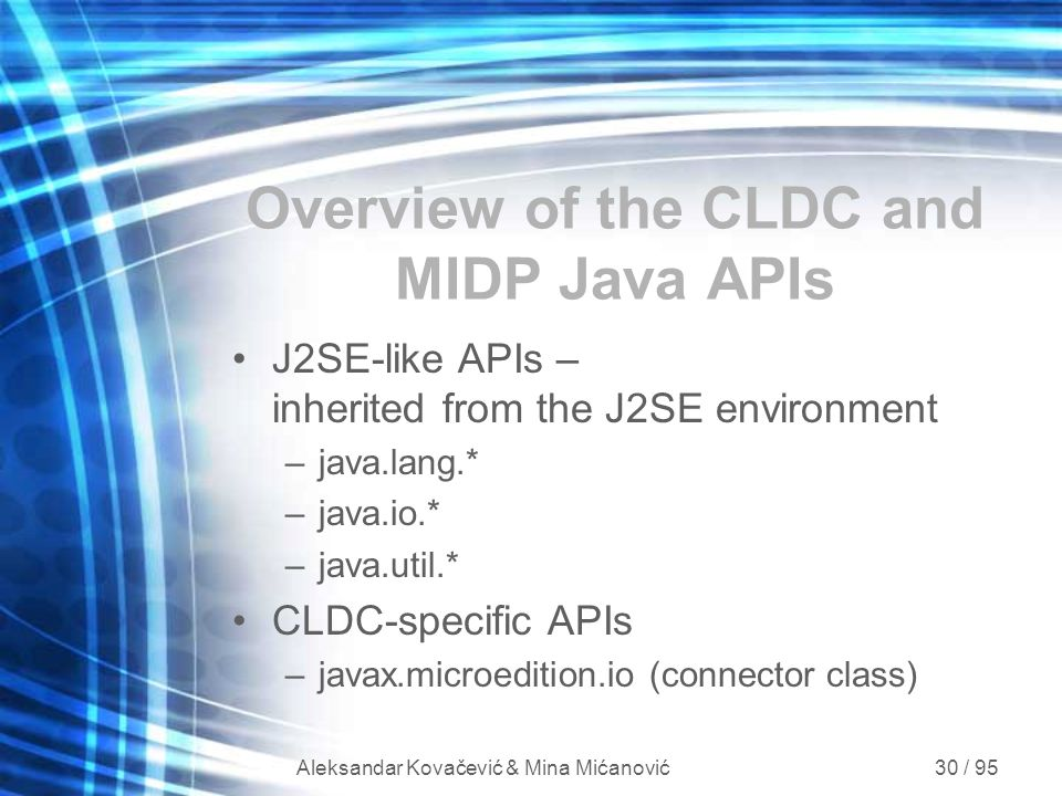Overview of the CLDC and MIDP Java APIs