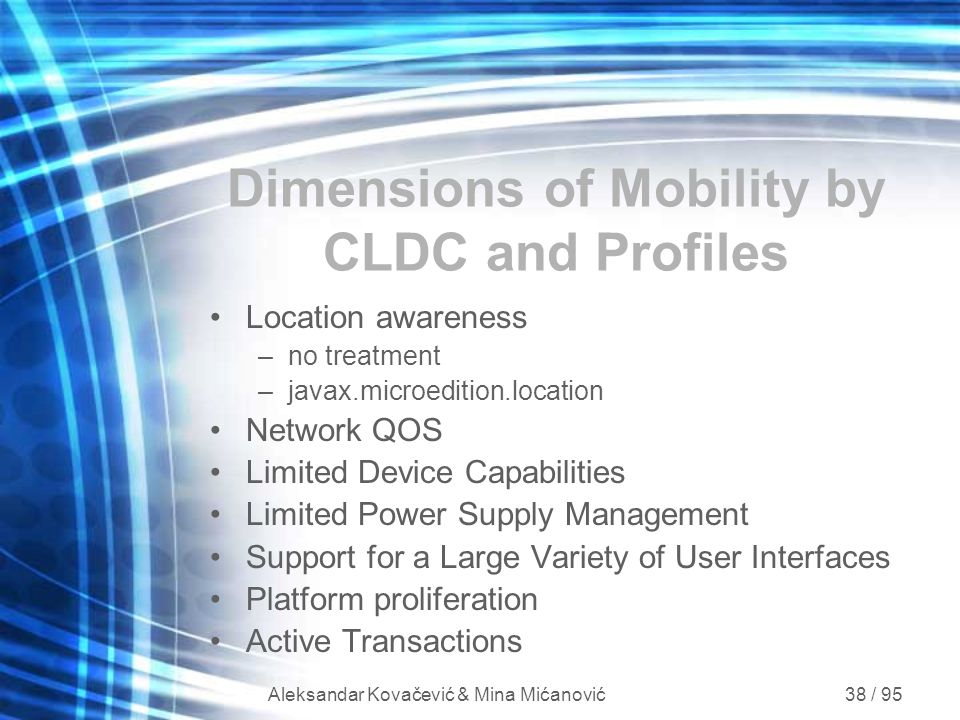 Dimensions of Mobility by CLDC and Profiles