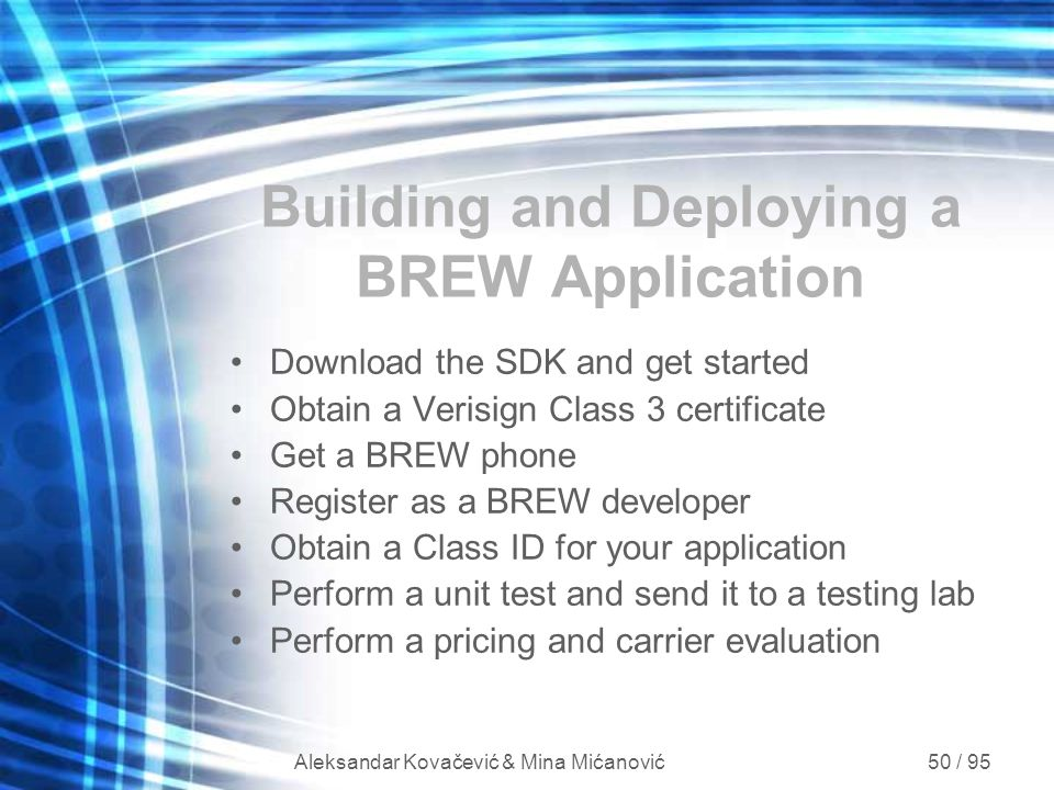 Building and Deploying a BREW Application