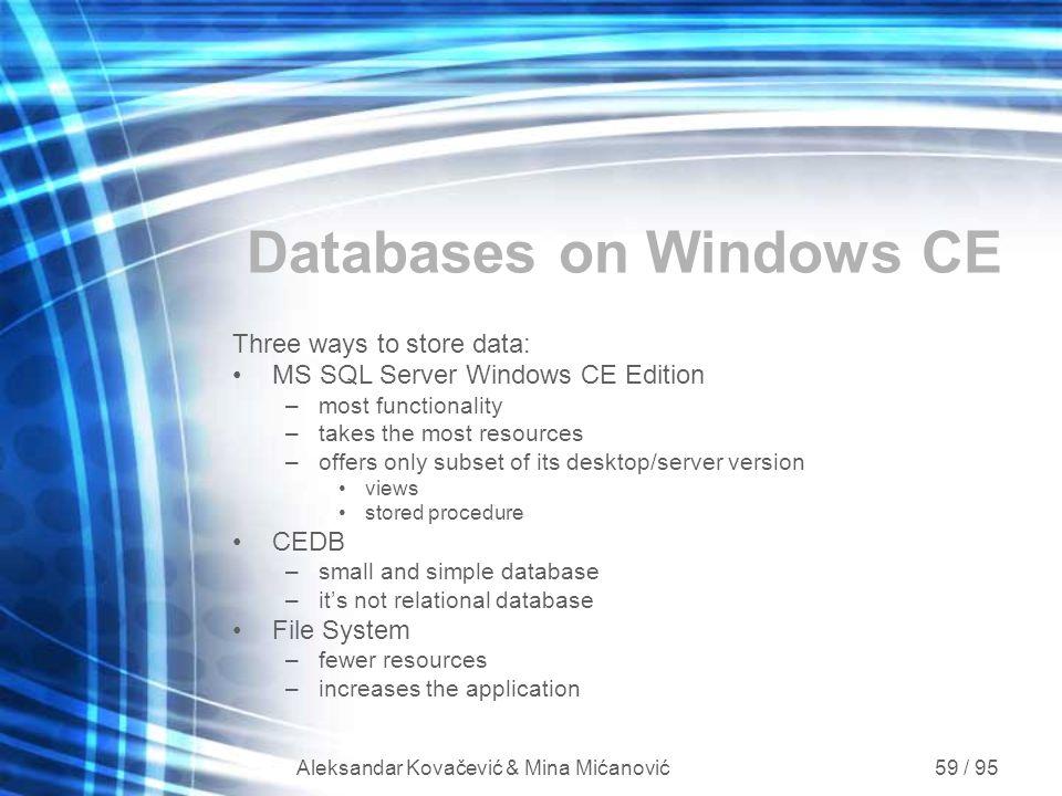 Databases on Windows CE