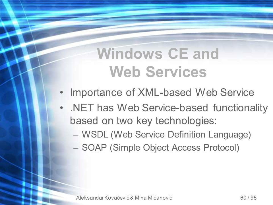 Windows CE and Web Services