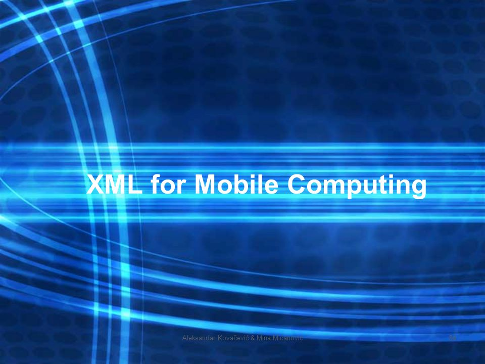 XML for Mobile Computing