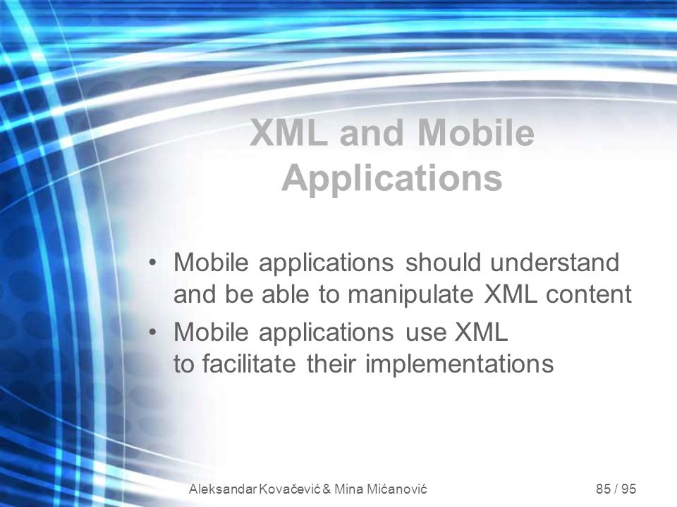 XML and Mobile Applications
