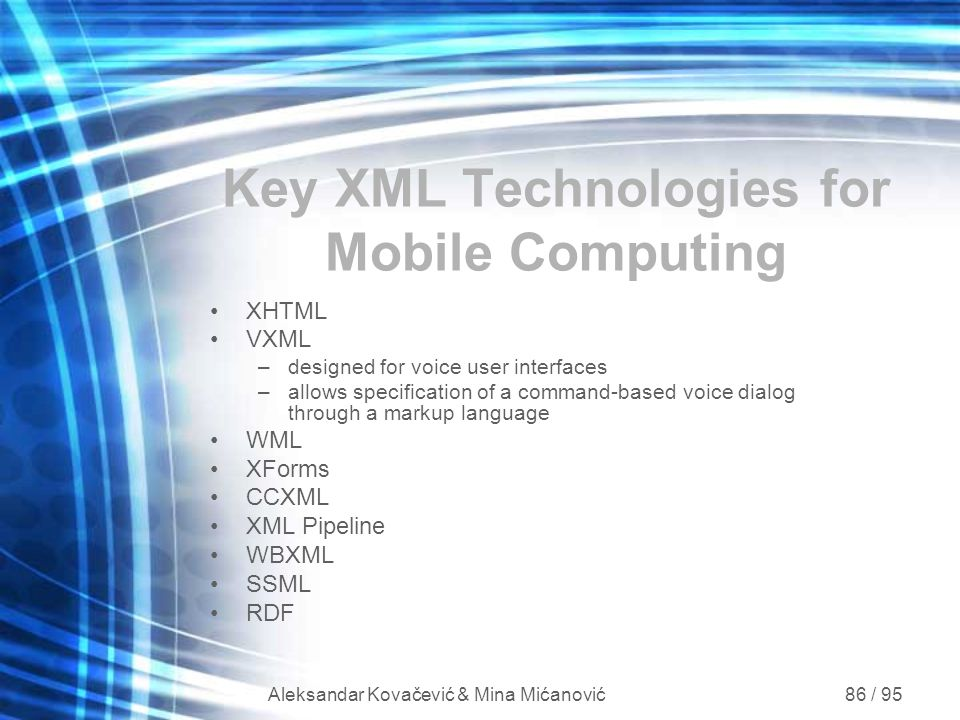 Key XML Technologies for Mobile Computing