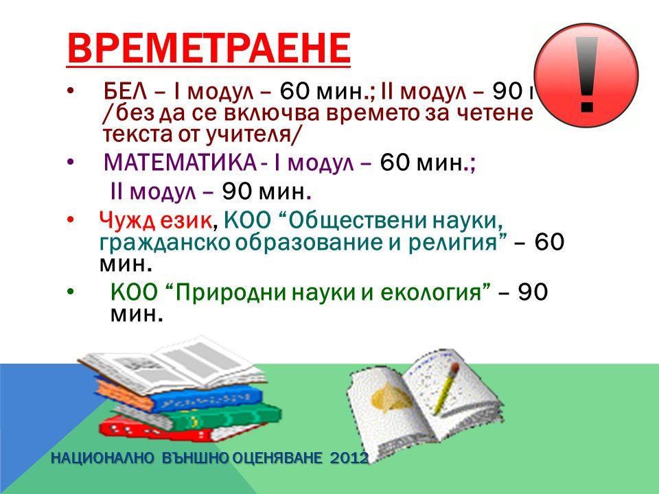 ВРЕМЕТРАЕНЕ БЕЛ – І модул – 60 мин.; ІІ модул – 90 мин. /без да се включва времето за четене на текста от учителя/