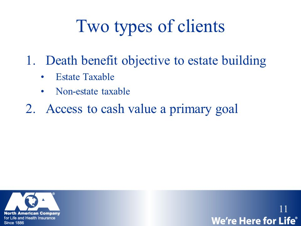 Two types of clients Death benefit objective to estate building