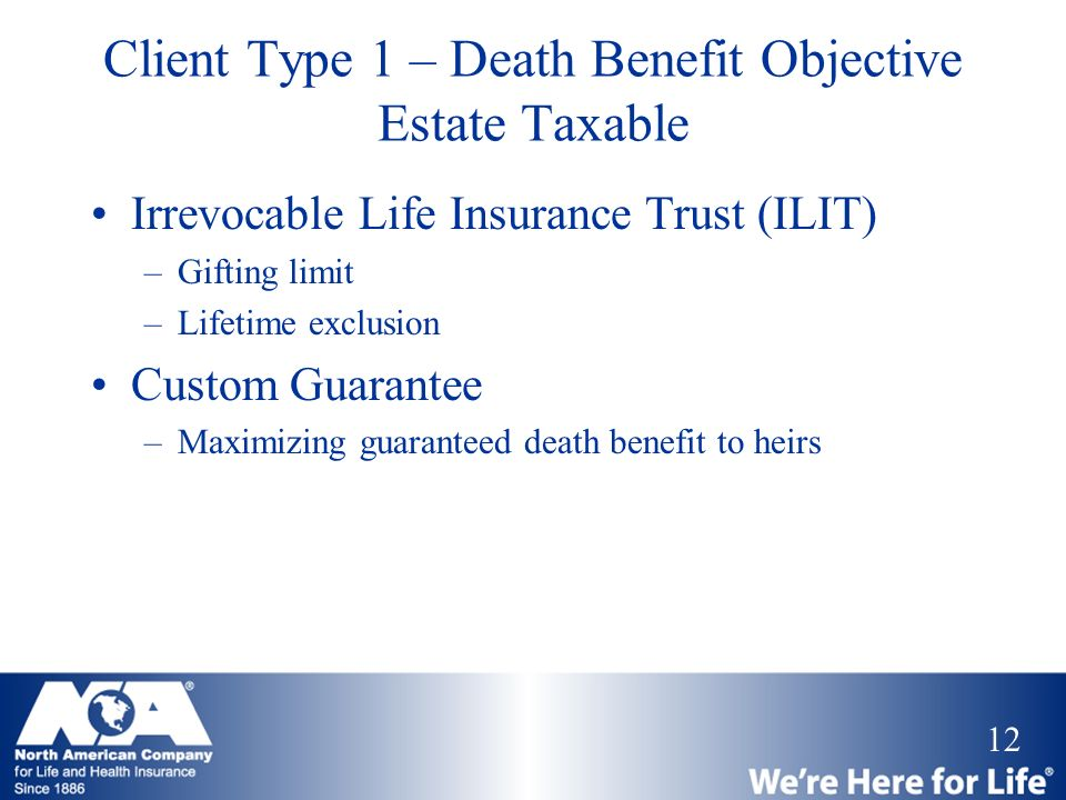 Client Type 1 – Death Benefit Objective Estate Taxable