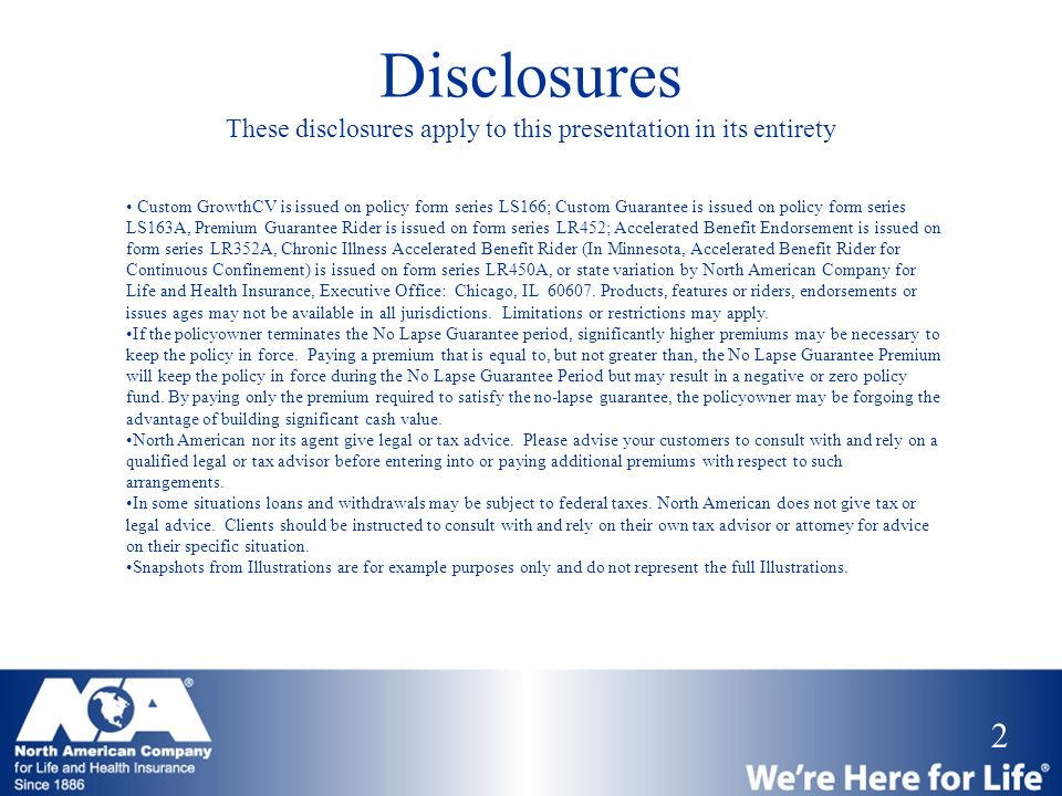 Disclosures These disclosures apply to this presentation in its entirety