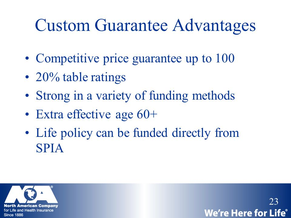 Custom Guarantee Advantages