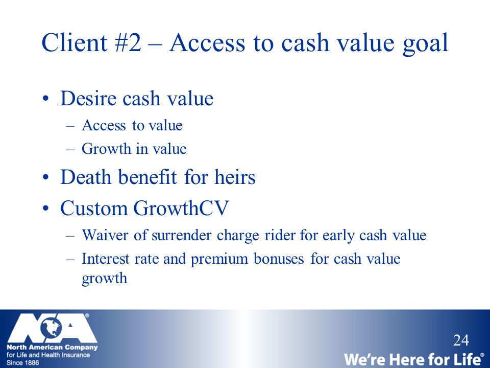 Client #2 – Access to cash value goal