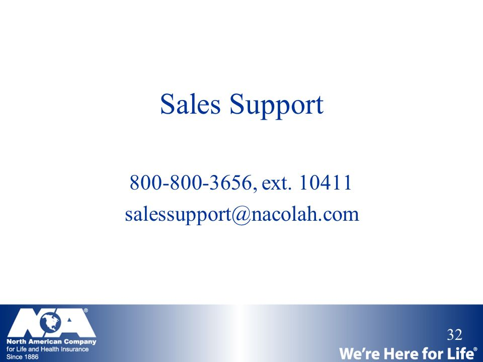 Sales Support 800-800-3656, ext. 10411 salessupport@nacolah.com