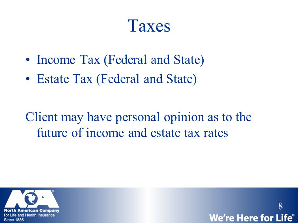 Taxes Income Tax (Federal and State) Estate Tax (Federal and State)