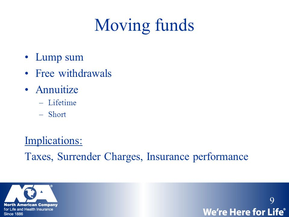 Moving funds Lump sum Free withdrawals Annuitize Implications: