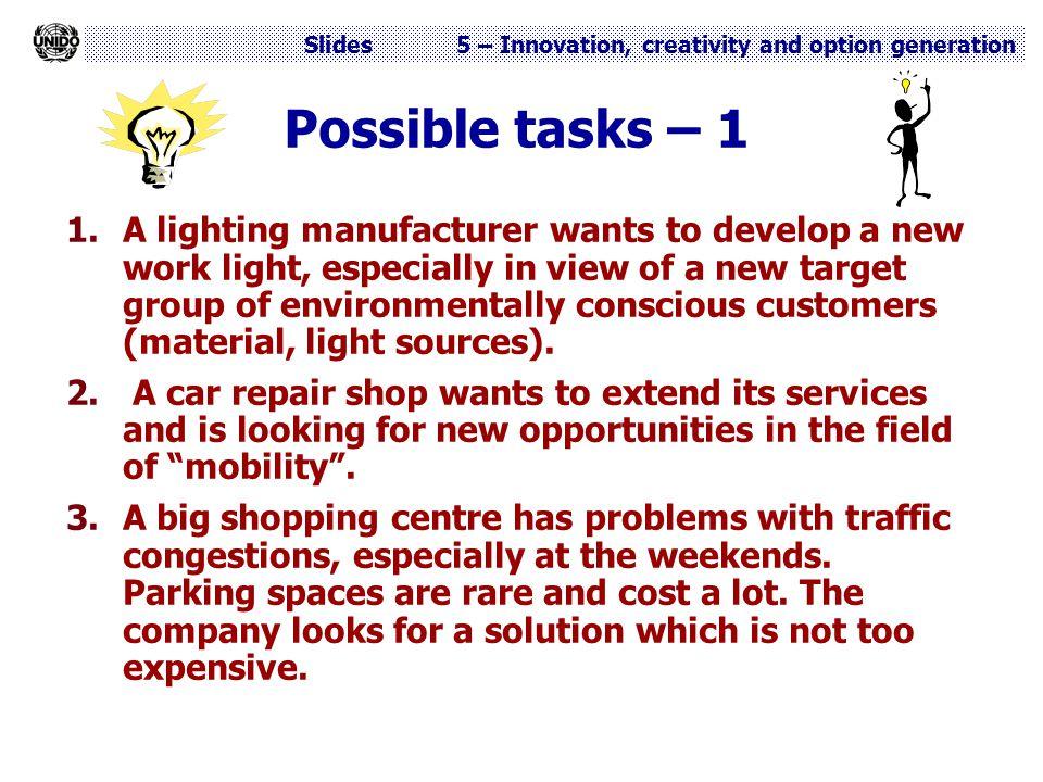 Possible tasks – 1