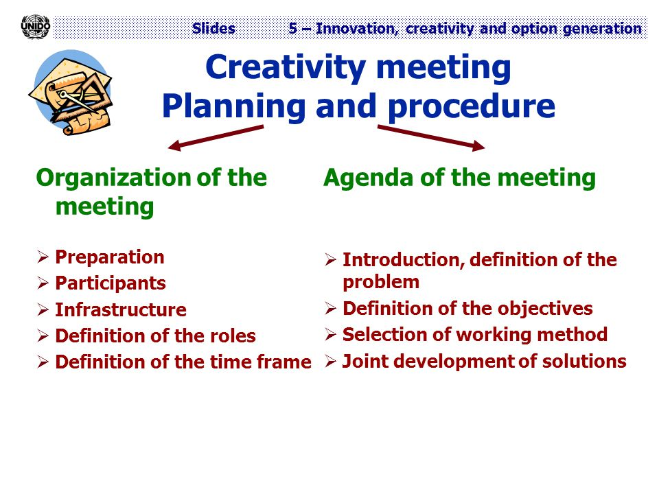 Creativity meeting Planning and procedure