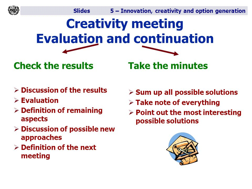 Creativity meeting Evaluation and continuation