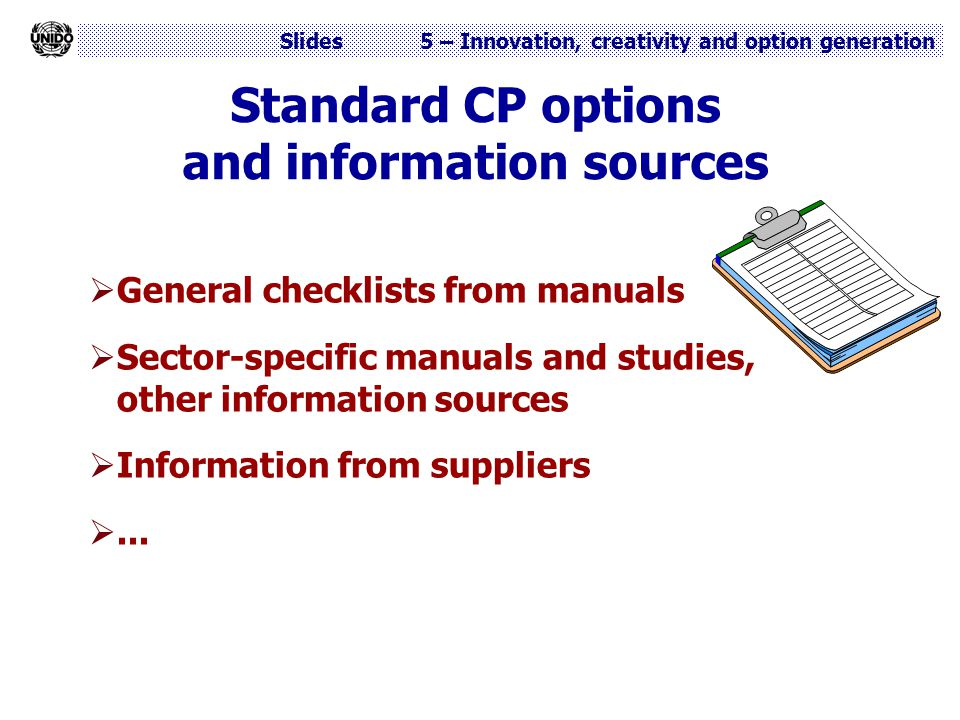 Standard CP options and information sources