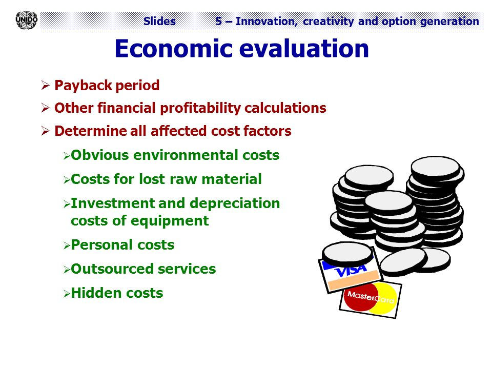 Economic evaluation Obvious environmental costs