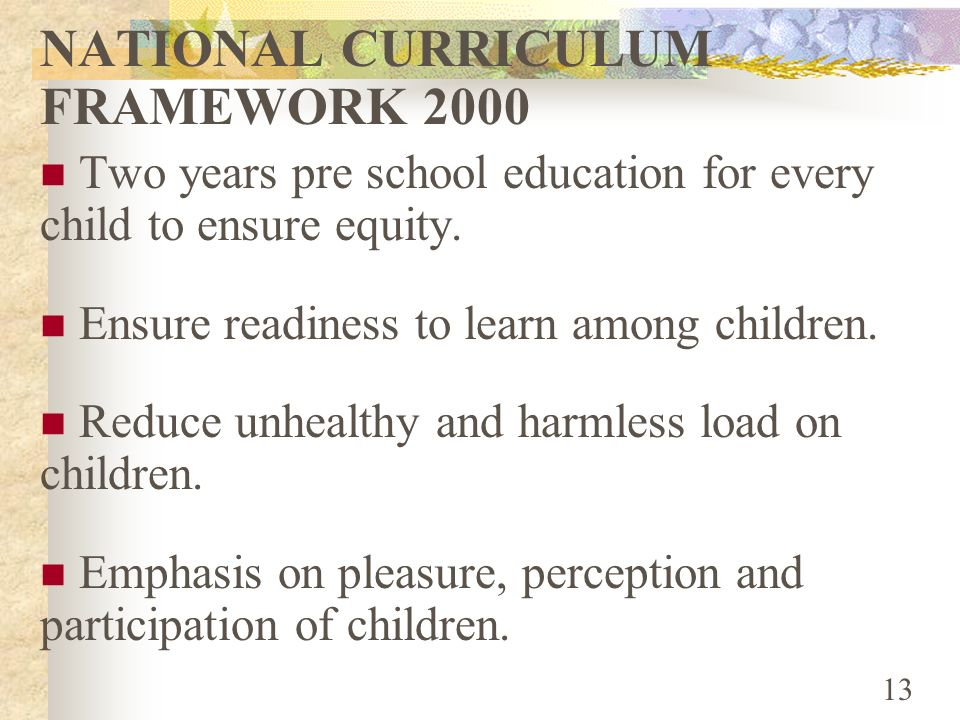 NATIONAL CURRICULUM FRAMEWORK 2000
