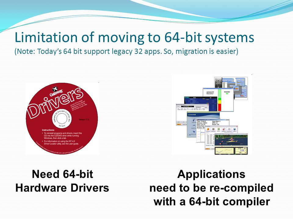 Limitation of moving to 64-bit systems (Note: Today's 64 bit support legacy 32 apps. So, migration is easier)