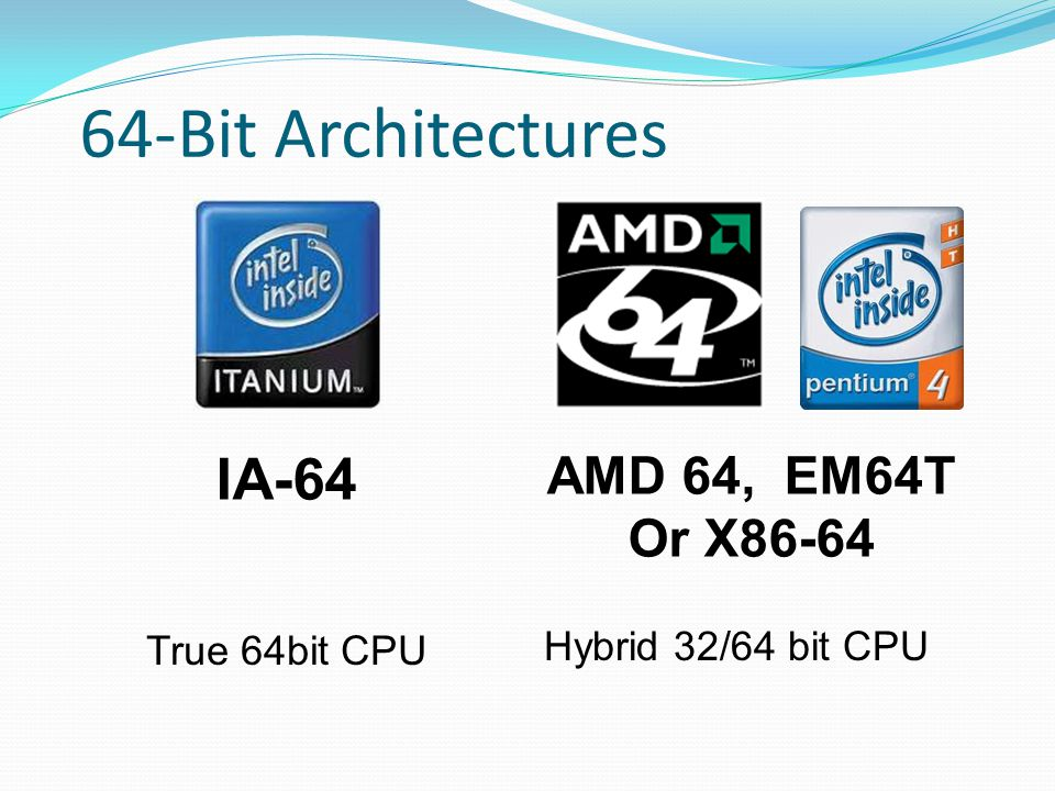 64-Bit Architectures IA-64 AMD 64, EM64T Or X86-64